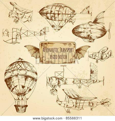 Retro Aviation Sketch