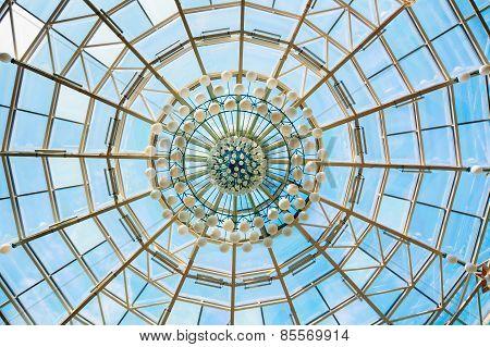 Modern roof of shopping center in Belarussian capital Minsk, Belarus