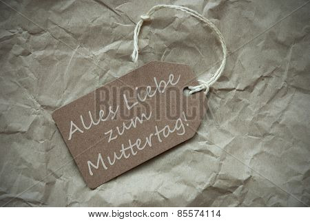Beige Label With Muttertag Means Mothers Day Paper Background