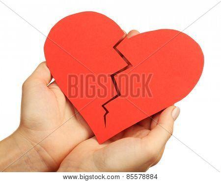 Female hands holding broken heart isolated on white