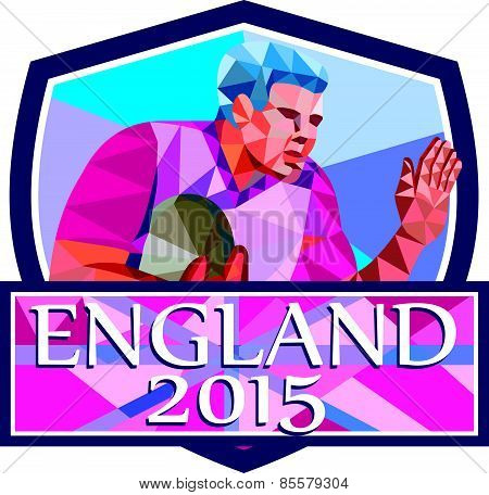 Rugby Player Fend Off England 2015 Low Polygon