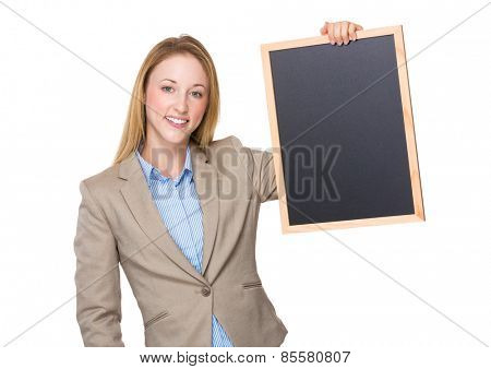 Business woman holding a chalk board on the hands