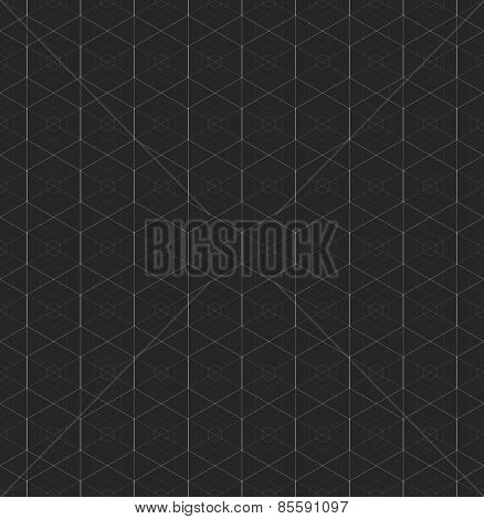 Monochrome Pattern With Intersecting Hexagonal Grid