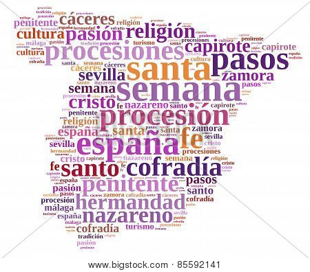 Tag cloud about Holy Week in Spain. poster