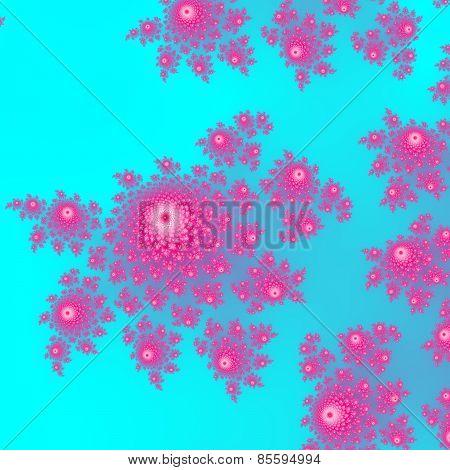 Pink fractal rosebud pattern on bright blue background