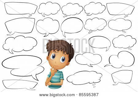 Boy with blank thinking bubbles