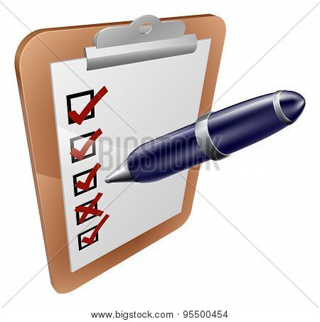 A cartoon clipboard survey form exam or questionnaire and pen icon poster