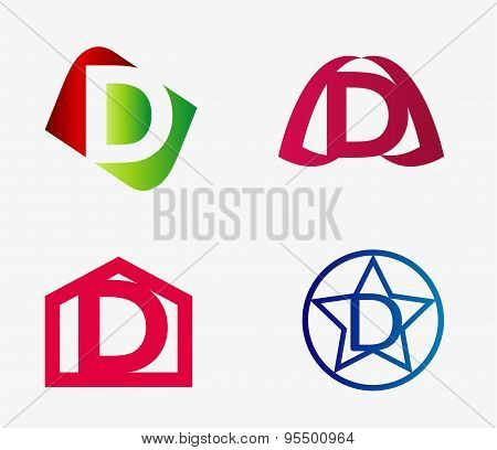 Vector set of abstract icons based on the letter d