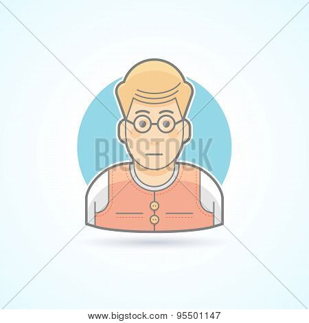 Teacher, nerd, bookworm icon. Avatar and person illustration. Flat colored outlined style.