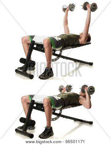 Dumbbell chest press exercise. Studio shot over white.