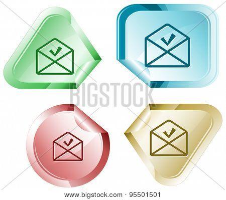 mail ok. Vector sticker.