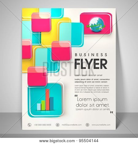 Abstract flyer design for business with image of globe, address bar, place holder and mailer.