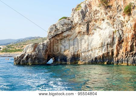Blue caves at bright sunny day Zakinthos Greece