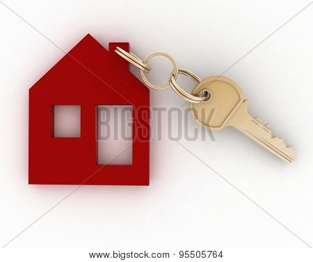 3d model house symbol with key