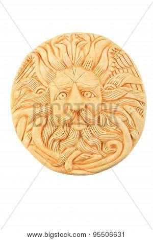 Tourist ceramic souvenir replica of male Gorgon Medusa head in Minerva temple in Roman Bath in England isolated on white poster