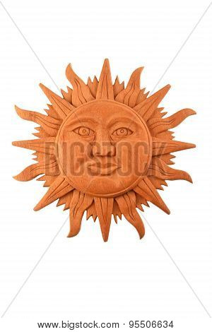 Mexican Wooden Carved Mayan Sun Symbol Plate Isolated On White