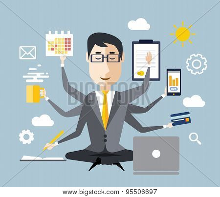 Businessman With Multitasking