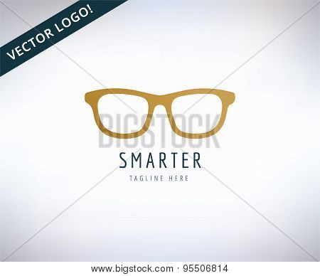 Glasses icon, education and smart. Stock illustration for design. Abstract vector logo elements.