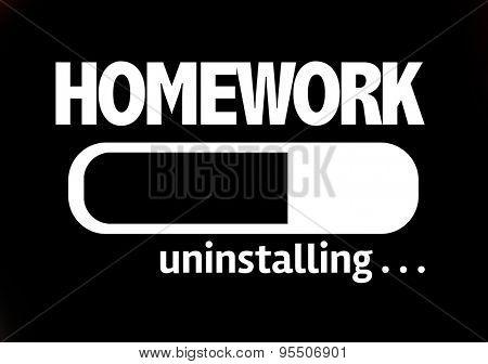 Progress Bar Uninstalling with the text: Homework poster