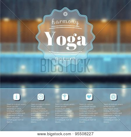 Yoga poster with a city view.