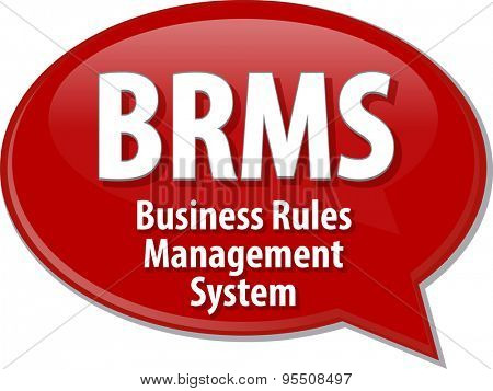 Speech bubble illustration of information technology acronym abbreviation term definition BRM Business Rules Management System poster