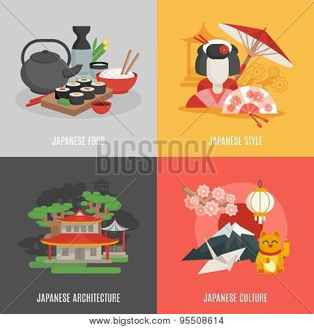 Japanese food culture architecture and style icon set isolated vector illustration poster