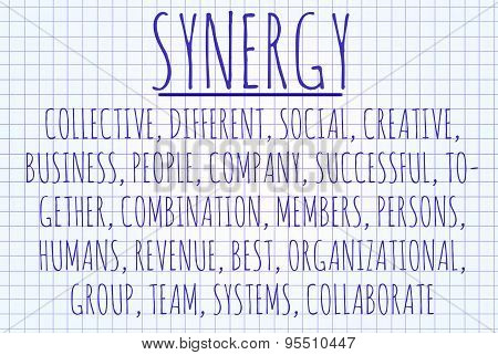 Synergy word cloud written on a piece of paper poster
