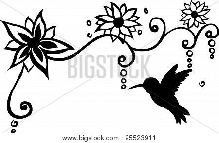 Bird Floral Wall Decal Vector Illustration