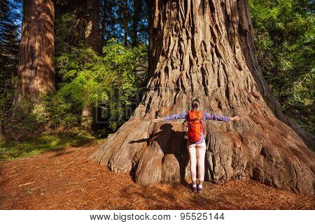 Woman with straight arms in Redwood California