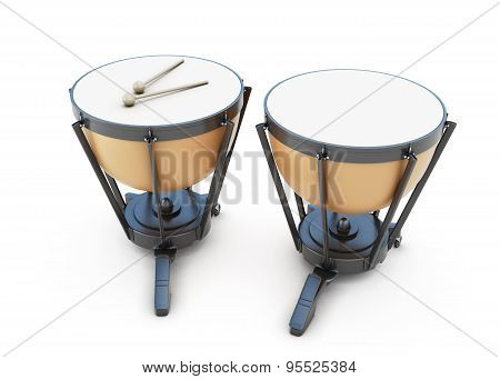 Timpani On A White