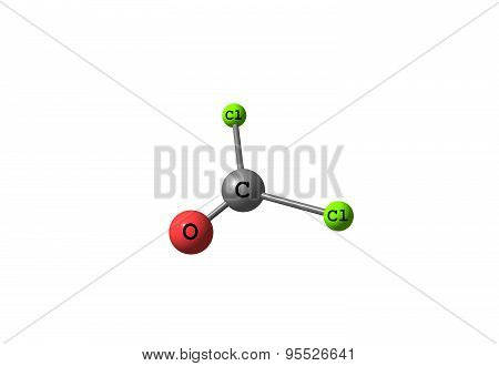 Phosgene molecular structure isolated on white