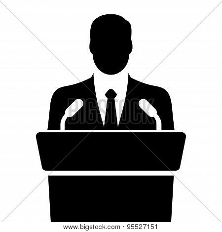 Orator Speaking From Tribune Vector Illustration