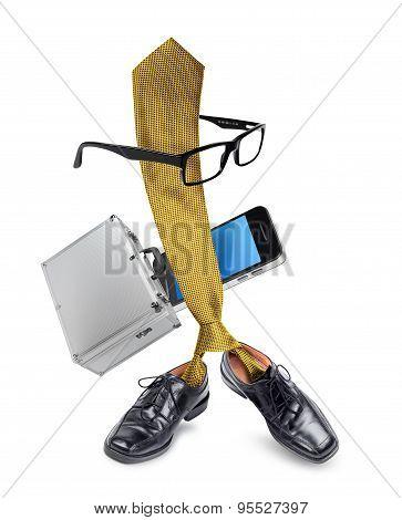Funny Businessman Tie Character Cartoon