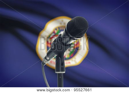 Microphone On Stand With Us State Flag On Background - Minnesota