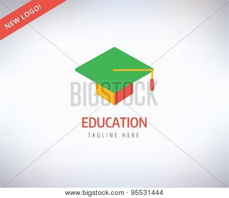 Graduation Hat vector logo icon. Education, students or school and college symbol. Stock design element.