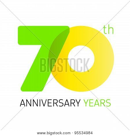 70 years old celebrating classic logo. Anniversary year of 70 th vector numbers. Birthday greetings celebrates with transparency. Traditional digits of jubilee ages. Colored letter O.