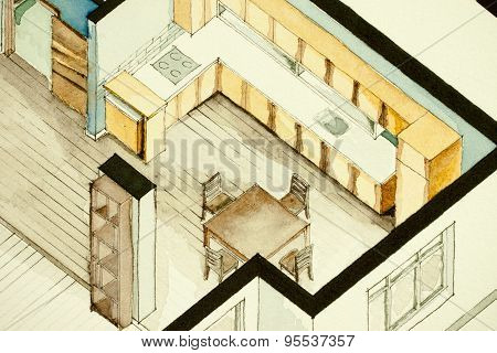 Inspiring isometric partial architectural watercolor drawing of condo apartment floor plan