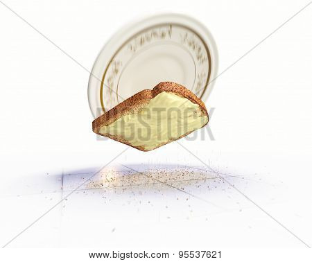 Bread and butter falling on the floor concept isolate background