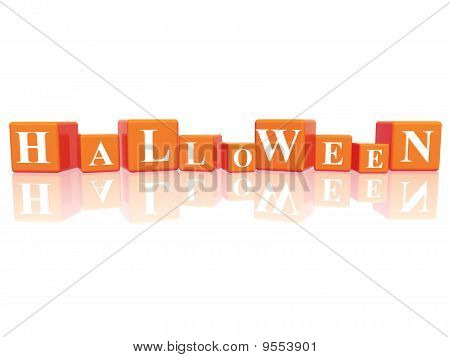 3d orange cubes with letters makes Halloween poster