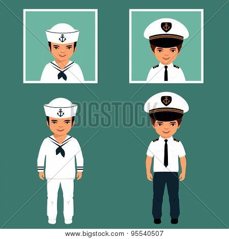 captain and sailor characters,