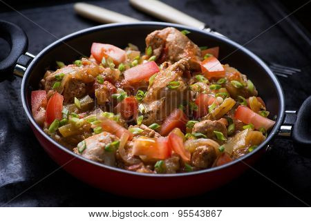 Chicken Stew With Onion, Pepper Ant Tomato