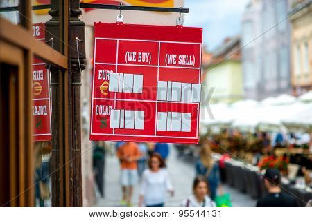 Exchange rate table on the street