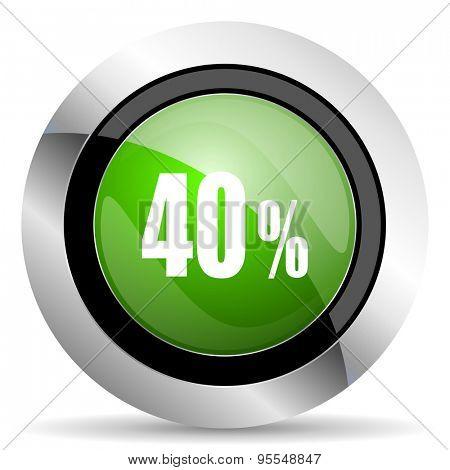 40 percent icon, green button, sale sign