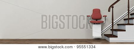 Panorama of stairlift on stairs in a home for elderly people (3D Rendering)