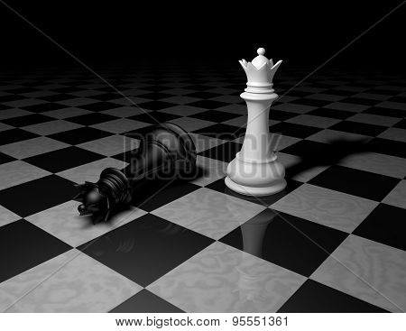 Chess Pieces On Marble Floor, Dark Background With Black And White