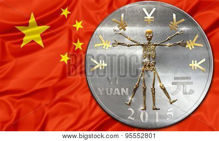 Chinese currency Yuan with a skeleton in place. Business concept about:  finalcial crisi, failure and  debit, bankruptcy, financial emergency, default, currency risk and consumerism poster