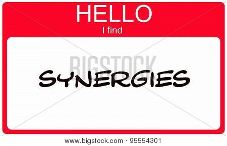 Hello I Find Synergies Red Name Tag making a great concept poster