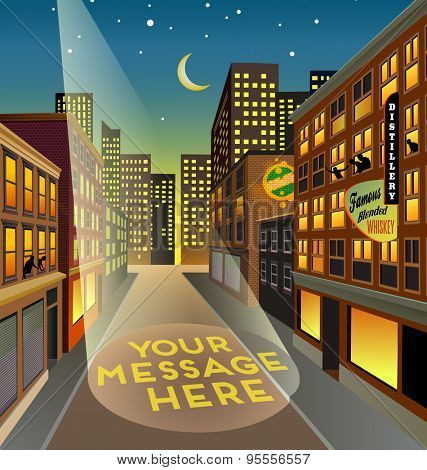 Fictitious city street at night with searchlight space for your message