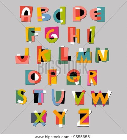 Abstract alphabet font. Paper cut-out style