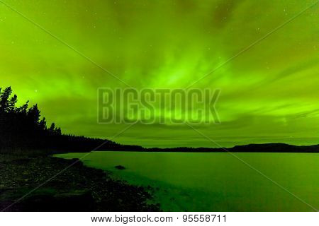 Northern Lights Sky Frozen Lake Laberge Yukon